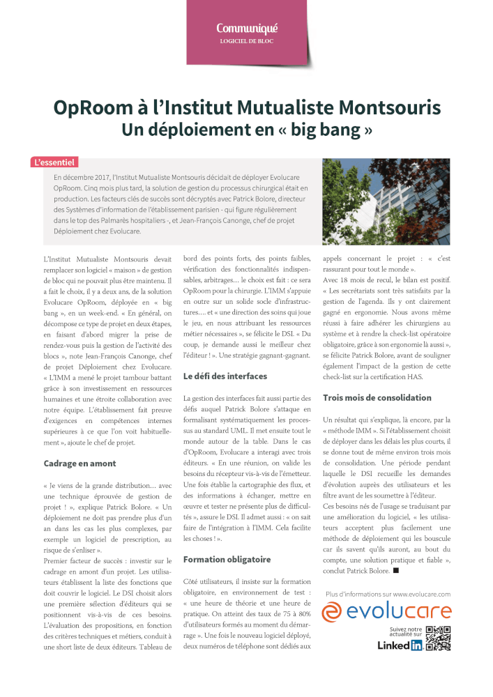 The rapid deployment of OpRoom at the Institut Mutualiste Montsouris
